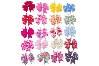 """(20pcs 3"""" pcs lovely hows) - Bzybel Baby Girl's 7.6cm - 10cm Boutique Hair Bows Grosgrain Ribbon Pinwheel Baby Shower Bows Alligator Clips Hair Clips Headbands"""