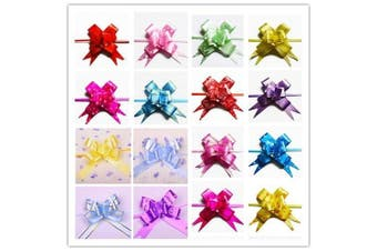 (L) - AUCH 100Pcs Elegant Festival Assorted Colours PVC Pull Bows/Christmas Gift Knot Ribbon Strings for Gift Wrapping or Floral Decoration, Random Colour, 3*48cm