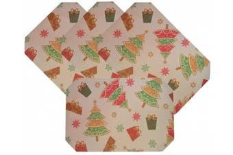 (Christmas Trees) - Set 4, Fabric Christmas Octagon Shape Table Placemats. 46cm w X 30cm h. (Christmas Trees)