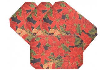 (Poinsettia-B) - Set 4, Fabric Christmas Octagon Shape Table Placemats. 46cm w X 30cm h. (Poinsettia-B)