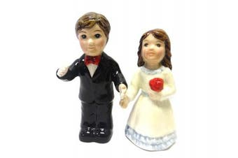 Bride and Groom Red Rose Magnetic Salt and Pepper Shakers