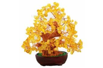 Feng Shui Natural Citrine Gem Stone Money Tree 18cm