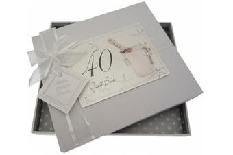 White Cotton Cards 40th Birthday Champagne and Bucket Guest Book