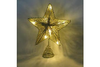 25cm Gold Springy Star With Warm White Led Lights - Christmas Tree Top Star / Christmas Decoration
