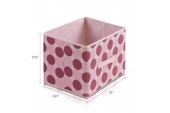 FURINNO Laci 11144PI Non-Woven Fabric Soft Storage Organiser, Dot Design, Pink