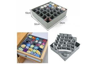 JJOnlinestore- 30 Grey Slots Compartments Wardrobe Drawer Socks Hanky Storage Unit Tidy Organiser