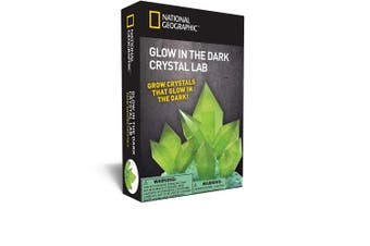 (Glow-in-the-dark) - NATIONAL GEOGRAPHIC Glow-in-the-Dark Crystal Growing Lab - DIY Crystal Creation - Includes Real Fluorite Crystal Specimen