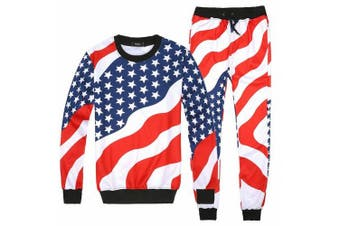 (X-Large, USA Flag) - Womens Emoji 100 Scores Printed Pullovers Sweatshirts/Joggers Sweatpants Set