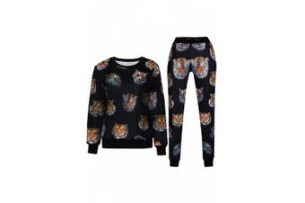 (Small, Tiger) - Womens Emoji 100 Scores Printed Pullovers Sweatshirts/Joggers Sweatpants Set