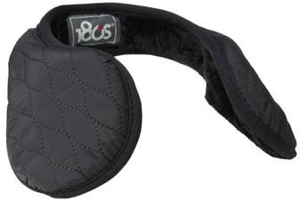 (One Size, Black) - 180s Women's Keystone Quilted Behind the Head Ear Warmers with Faux Fur Liner