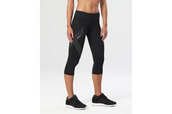 (Large, Black/Dotted Reflective Logo) - 2XU Women's Mid-rise 3/4 Compression Tights
