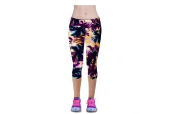 (Medium, Print2) - Ancia Womens Tartan Active Workout Capri Leggings Fitted Stretch Tights