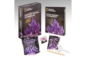 (Purple) - NATIONAL GEOGRAPHIC Purple Crystal Growing Lab - DIY Crystal Creation - Includes Real Amethyst Crystal Specimen