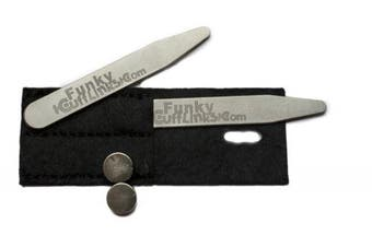 Pair of Magnetic Collar Stays / Stiffeners with Magnets in Wallet