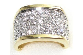 (P) - Ah! Jewellery. Amazing Two Tone Wide Pave Ring. Encrusted With Finest Lab Diamonds. Outstanding Quality