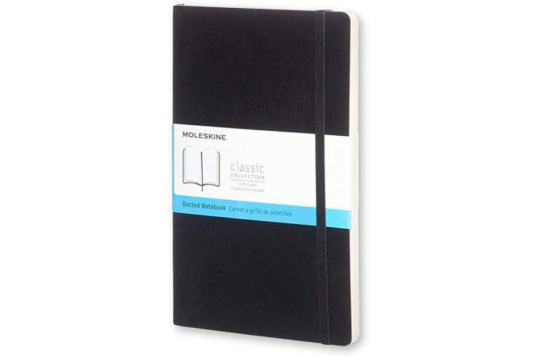 (Dot Matrix, Large, black) - Moleskine Classic Dotted Paper Notebook - Soft Cover and Elastic Closure Journal - Colour Black - Large 13 x 21 A5 - 192 Pages