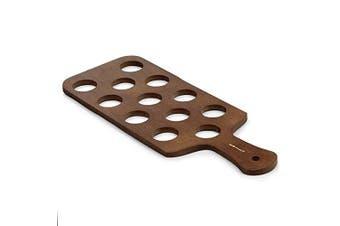 Pine Shot Paddle Board to Hold 12 Shot Glasses - Wooden Shot Flights for Serving Drinks