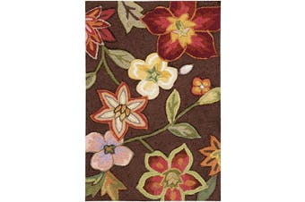 (0.3mes by 0.6mes, Chocolate) - Rug Squared Laurel Floral Area Rug , 0.3mes by 0.6mes, Chocolate