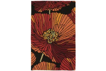 (0.3mes by 0.6mes, Black) - Rug Squared Laurel Floral Area Rug (LA24), 0.3mes by 0.6mes, Black