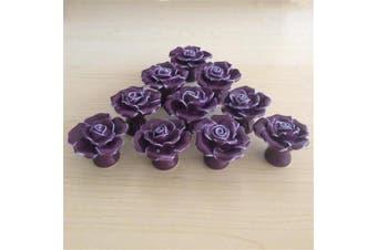 (Purple) - SunKni 41mm 10Pcs Rose Flower Floral Knobs Ceramic Drawer Handles Pulls for Wardrobe Cupboard Dresser Cabinet Closet Kitchen Furniture with Free Screws 2015 New Sets Pack of 10 (Purple)