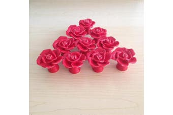 (Red) - SunKni 41mm 10Pcs Rose Flower Floral Knobs Ceramic Drawer Handles Pulls for Wardrobe Cupboard Dresser Cabinet Closet Kitchen Furniture with Free Screws 2015 New Sets Pack of 10 (Red)