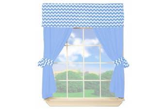 Baby Doll Chevron Valance Curtain Set, Blue