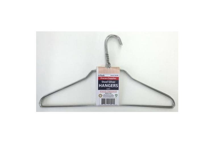 ProCare 6 Strong Silver Colour Galvanised Metal Wire SHIRT Hangers 41cm 13 Gauge