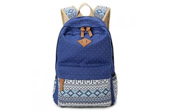 (Navy) - Hitop Geometry Dot Casual Canvas Backpack Bag, Fashion Cute Lightweight Backpacks for Teen Young Girls