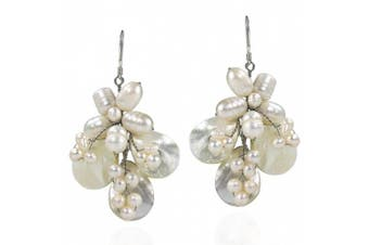 Butterfly White Mother of Pearl and Pearl .925 Silver Earrings
