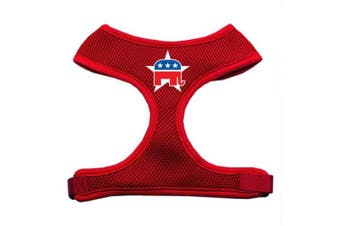 (red) - Mirage Pet Products 70-50 LGRD Republican Screen Print Soft Mesh Harness Red Large