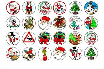 24 Christmas Edible Wafer Paper Cup Cake Toppers