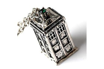 (Silver) - 5starwarehouse® Dr Who Tardis Necklace & Pendant Policebox Crystal - With 5star Cloth (Silver)