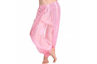(One Size, Pink) - Best Dance Women's Belly Dance Costume Shinny Bloomers trousers & Harem Pants Pink
