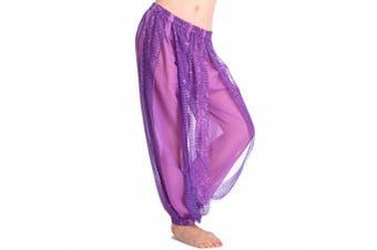 (One Size, Purple) - Best Dance Women's Belly Dance Costume Shinny Bloomers trousers & Harem Pants Purple