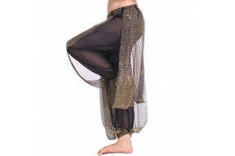 (One Size, Black) - Best Dance Women's Belly Dance Costume Shinny Bloomers trousers & Harem Pants Black