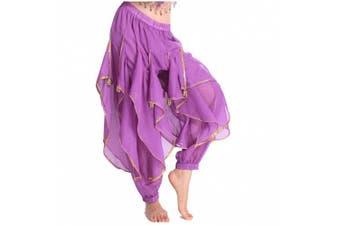(One Size, Purple) - Best Dance Women's Belly Dance Bloomers Tribal Costume Wavy Pant Trousers Purple