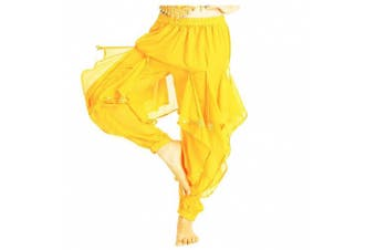 (One Size, Yellow) - Best Dance Women's Belly Dance Bloomers Tribal Costume Wavy Pant Trousers Yellow