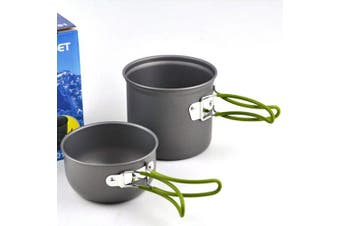 (style 1) - Anself Portable Outdoor Cooking Set Anodised Aluminium Non-stick Pot Bowl Cookware Camping Picnic Hiking Utensils camping cooking equipment