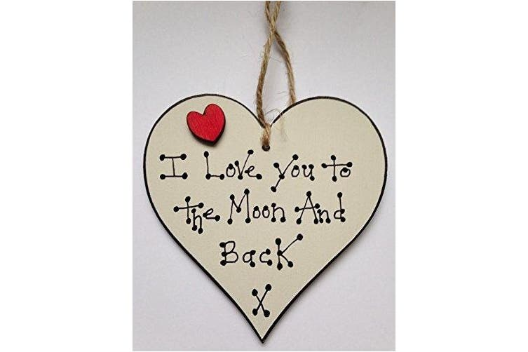I LOVE YOU TO THE MOON AND BACK WOODEN HEART PLAQUE GIFT