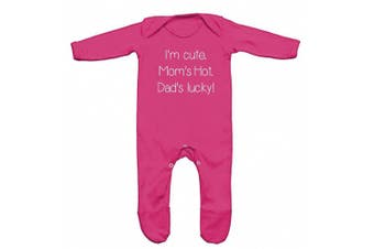 (3-6 Months, Pink) - I Am Cute, Moms Hot, Dads Lucky Baby Romper Sleep Suit