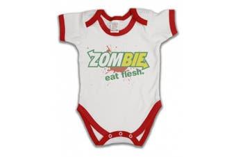 (0 - 3 Months, White/Red Trim) - Zombie Eat Flesh Funny Slogan Boys & Girls Unisex Baby Grow