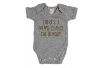 (12 - 18 Months, Grey) - There`s a 99.9% Chance I`m Hungry Funny Slogan Girls & Boys Unisex Baby Grow