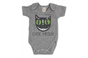 (0 - 3 Months, Grey) - Cheque Meowt Cat Funny Slogan Girls & Boys Unisex Baby Grow