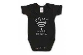 (12 - 18 Months, Black) - Home Is Where The Wifi Is Funny Slogan Girls & Boys Unisex Baby Grow