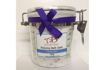 Lavender Bath Salts Soak 550g Gift Jar Epsom Salts and Dead Sea Salts Enriched with Essential Oil 100% Natural Aromatherapy Packed with minerals