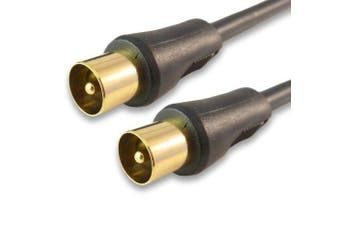 2m Supreme M-M TV Aerial Lead / 24k Gold Plated / With Anti Interference Suppressors / Black / Digital TV / 2 Metres (BY CABLES 4 ALL)