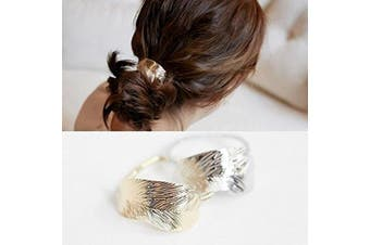 (gold and silver) - Minimalist Gold Silver Metal LEAF Tree Leaves Feather Cuff Wrap Metallic Hairband Ponytail Pony Holder Band Rope Ring Ties Headwear Headdress Styling Jewellery Accessories Bracelet Wedding Party GIFT