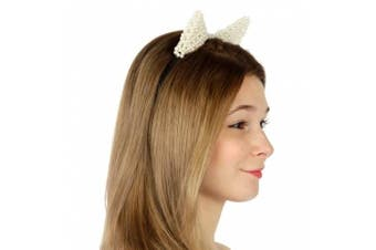 (Cat Ears White) - Cat Ears, Mouse Ears, Rabbit Ears Headbands By Crown (Cat Ears White)