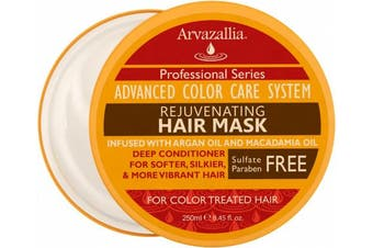 Rejuvenating Hair Mask and Deep Conditioner For Colour Treated Hair with Argan Oil and Macadamia Oil By Arvazallia - Sulphate Free & Paraben Free