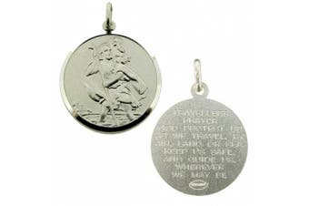 Solid 925 Sterling Silver 20mm Round St Christopher Medal Pendant With Travellers Prayer In Gift Box